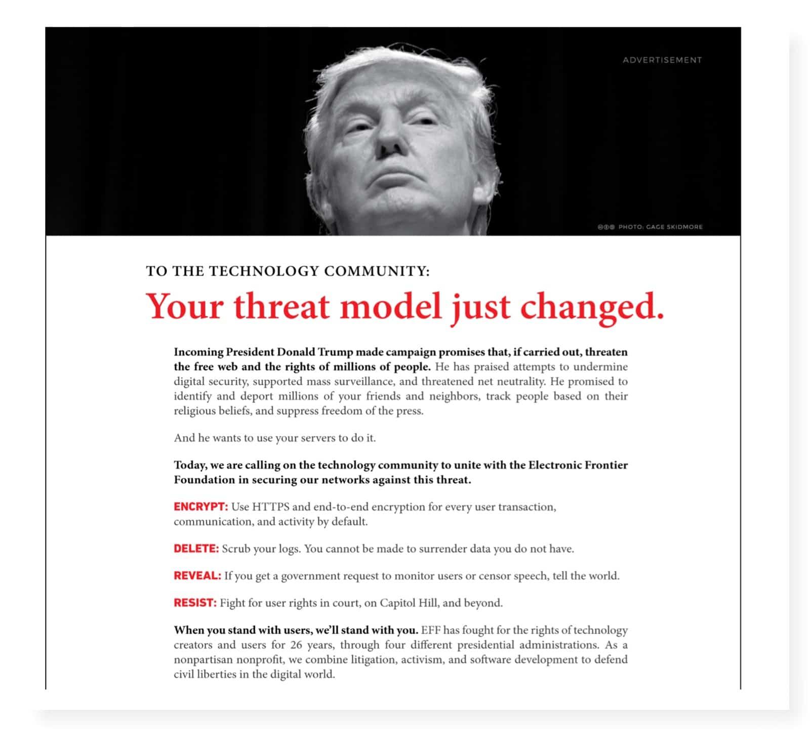 Trump hotar friheten på nätet