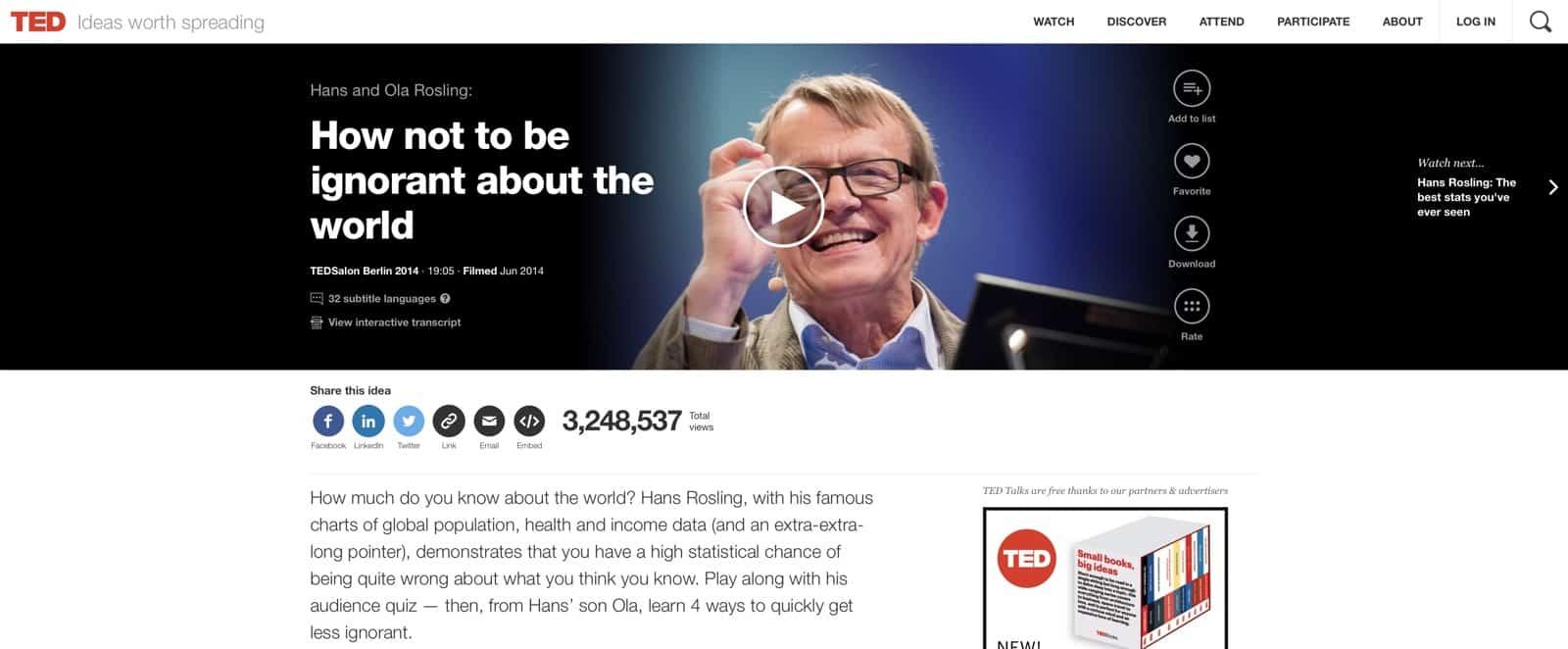 Här är Hans Rosling alla fantastiska föreläsningar på TED