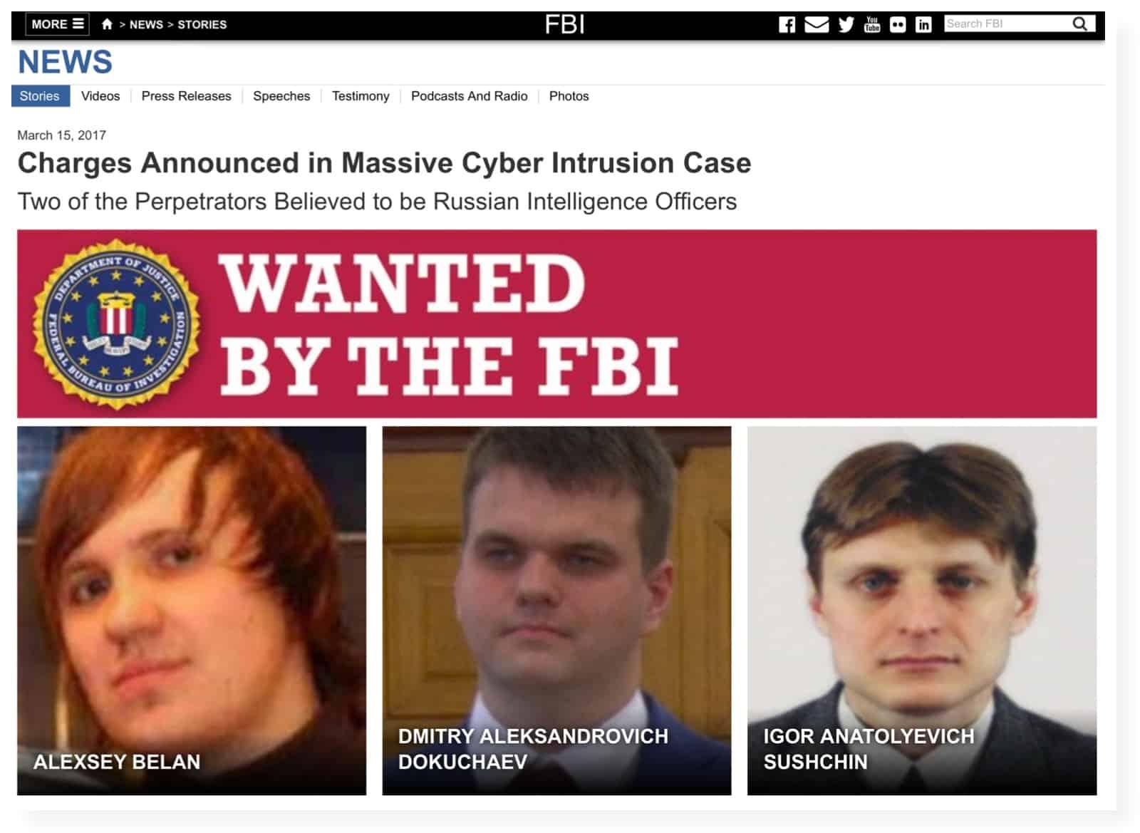 Två anställda vid ryska FSB misstänks för intrång i Yahoos datorsystem