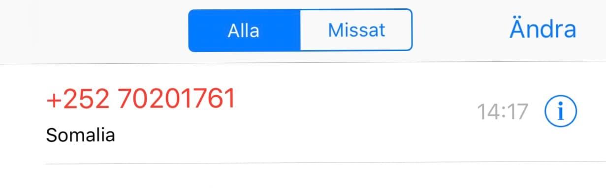 Ring inte tillbaka om du har ett missat samtal från Somalia