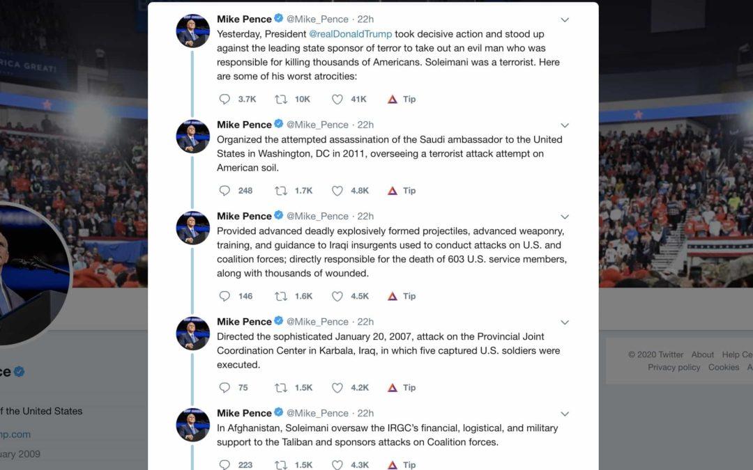 Mike Pence fabricerar lögner för att förvara attacken i Iran