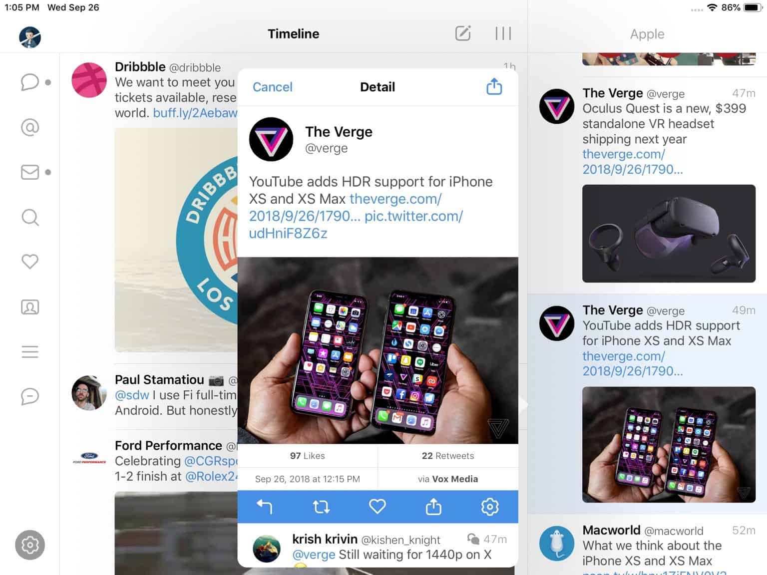Tweetbot uppdaterat med stöd för styrplatta